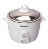 PANASONIC Automatic Rice Cooker with Steamer with Transparent Glass Lid White 3 Cup SR-G06FGEW