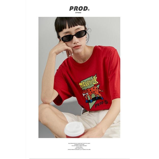 商品详情 - PROD奇怪的豹子宽松薄款短袖T恤  红色 - M - image  0