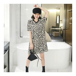 [KOREA] MAGZERO Leopard Sweater Dress #Beige&Black One Size(S-M) [免费配送]