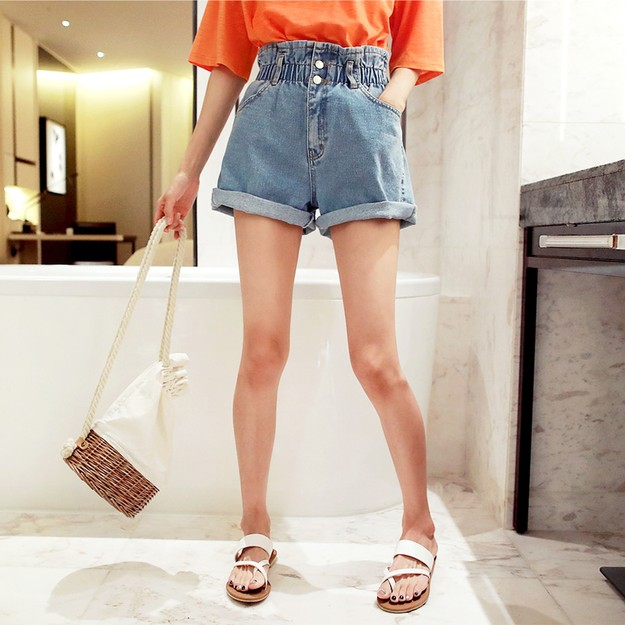 Product Detail - WINGS Elastic High Waist Wide-Leg Denim Shorts #Light Blue M(27-28) - image 0