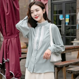 CARRIE&KATE【Designer Style】2019 Spring new long sleeves loose on vertical collar lace chiffon shirt Canal Blue/S