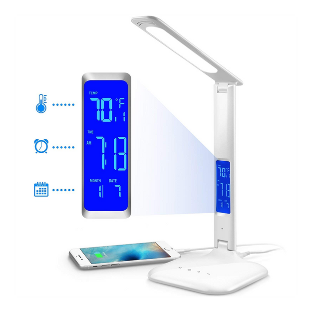 INNOKA Energy Efficient Eye Protect 180 Degree Adjustable LED Desk Lamp Table Lamp with LCD Display & USB Charging Port