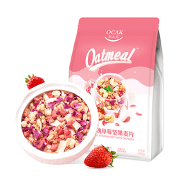 OCAK Rose Strawberry Nuts Dry Snack Fruit Cereals Meal Replacement Oatmeal 400g