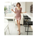 KOREA MAGZERO V-Neck Floral Print Mini Dress #Orange One Size(S-M) [Free Shipping]