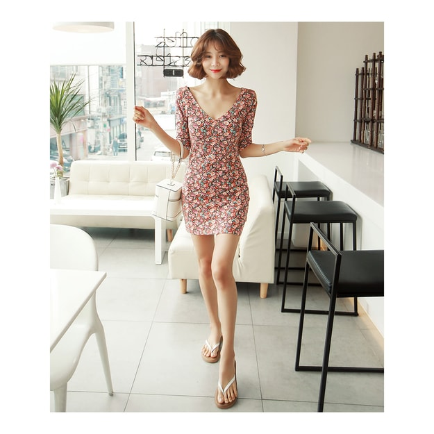 Product Detail - KOREA MAGZERO V-Neck Floral Print Mini Dress #Orange One Size(S-M) [Free Shipping] - image 0