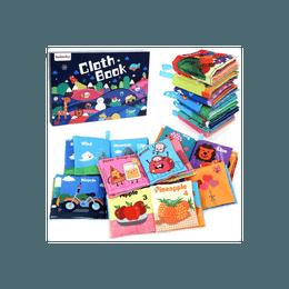 BeebeeRun 宝宝布艺书6本 0岁以上 汽车图形水果自然食物动物6个主题