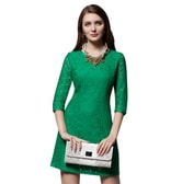 BIRRYSHOP A seven-point sleeve lace dress  green  XXL