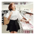 KOREA MAGZERO Wavy layered Ruffle Sleeve Blouse #White One Size(S-M) [Free Shipping]