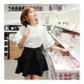 KOREA MAGZERO Wavy layered Ruffle Sleeve Blouse #White One Size(S-M) [Free Shipping]