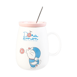 KINGBIRD Doraemon Mug Cup with Lid and Stainless Steel Spoon 550ml Pink
