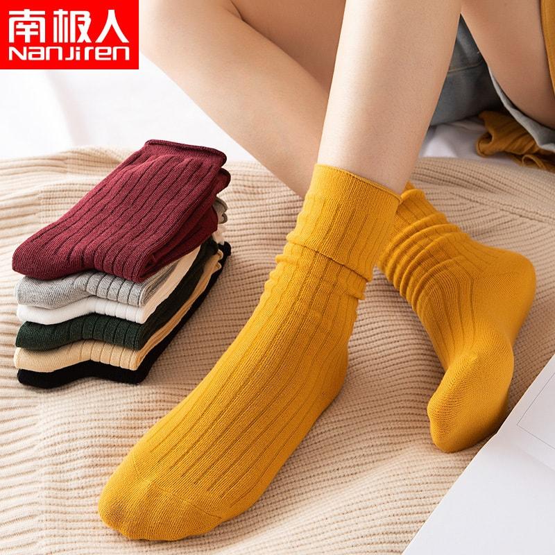 南极人(Nanjiren)袜子女士袜子5双韩版堆堆袜运动舒适透气休闲女袜女士棉袜中筒袜 怎么样 - 亚米网