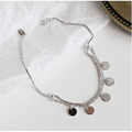 Korea S925 Sterling Silver Handmade Creative Personality Geometric Round Disc Box Anklet Foot Charm
