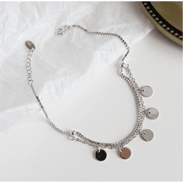 Product Detail - Korea S925 Sterling Silver Handmade Creative Personality Geometric Round Disc Box Anklet Foot Charm - image  0