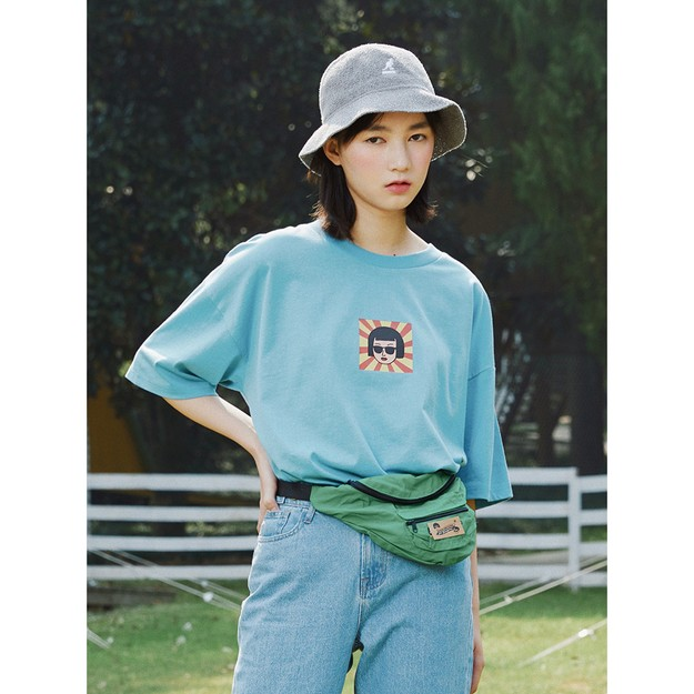 商品详情 - 红黄条眼镜女孩大版宽松T恤 蓝色 - M - image  0