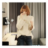 KOREA MAGZERO Wide Long Sleeve Turtleneck Sweater Beige One Size(Free) [Free Shipping]