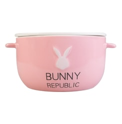 KINGBIRD Cute Fashion Pink Bunny Ceramics Bowl BUNNY REPUBLIC Microwave Safe