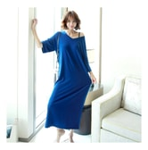 [KOREA] MAGZERO Natural Loose V-Neck Maxi Dress #Blue One Size(Free) [Free Shipping]