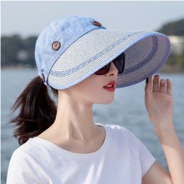 TIMESWOOD Detachable Empty Top Hat Visor Outdoor Big Beach Hat Summer Sun Hat Royal Blue 1PC