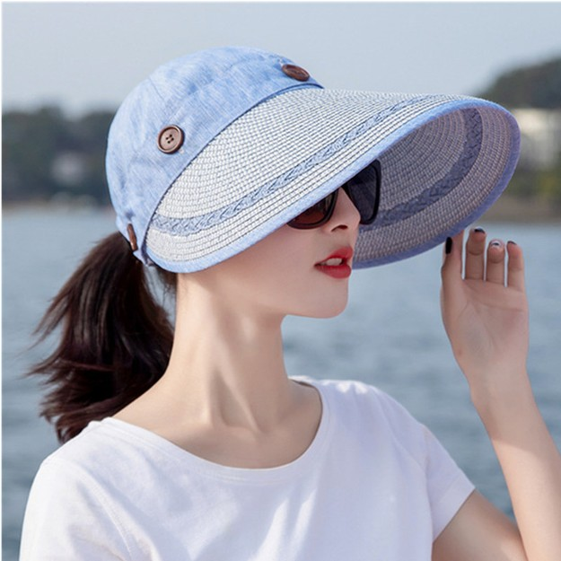 Product Detail - TIMESWOOD Detachable Empty Top Hat Visor Outdoor Big Beach Hat Summer Sun Hat Royal Blue 1PC - image 0