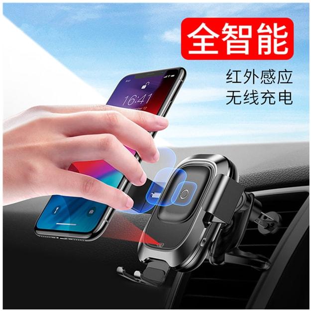 商品详情 - 中国直邮 4-6.5寸手机通用 红外线感应无线充 汽车出风口智能车载支架手机通用导航支架 苹果Xs Max XR 三星Note9等 - image  0