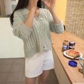 【韩国直邮】CHERRYKOKO 纯色宽松开襟衫 薄荷色 均码
