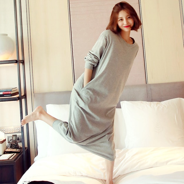 WINGS Banded Hem Sweatshirt Dress #Grey One Size(Free)