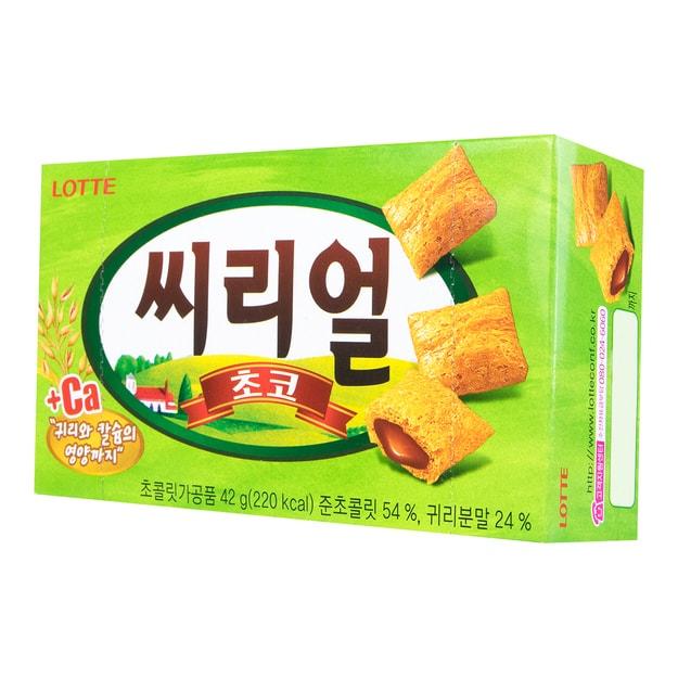商品详情 - 韩国LOTTE乐天 巧克力夹心燕麦小饼干 42g - image  0