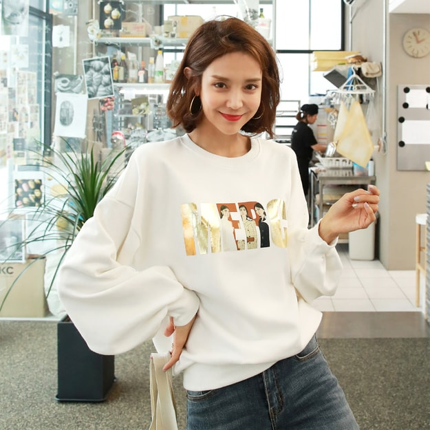 Product Detail - WINGS Puff Sleeve Sweatshirt #Ivory One Size(S-M) - image 0