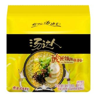台湾统一 汤达人 酸酸辣辣豚骨面 五连包 650g