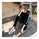MAGZERO [Limited Quantity Sale] Side Stripe Velvet Hoodie and Jogger Pants 2 Pieces Set #Black One Size(S-M)