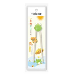 双枪学习筷系列 儿童小孩专用 练习筷子 另附硅胶助力头 19cm 1双入 #青蛙王子