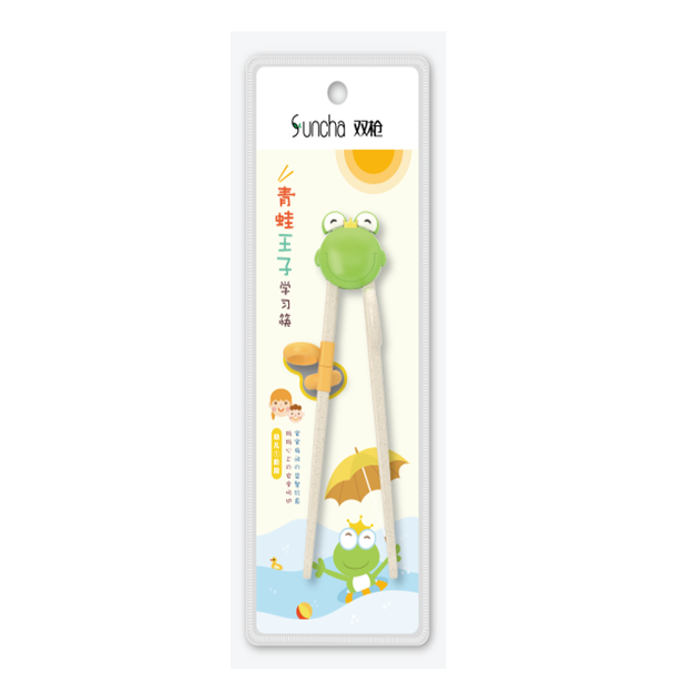 Product Detail - Children Learning Chopsticks for Kids Toddlers 19cm 1pair #Frog - image  0