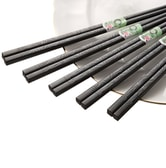 GOOD HOUSEKEEPING Japanese Style Alloy Chopsticks Set Bamboo Leaves Carved Chopsticks 5 Pairs / Set