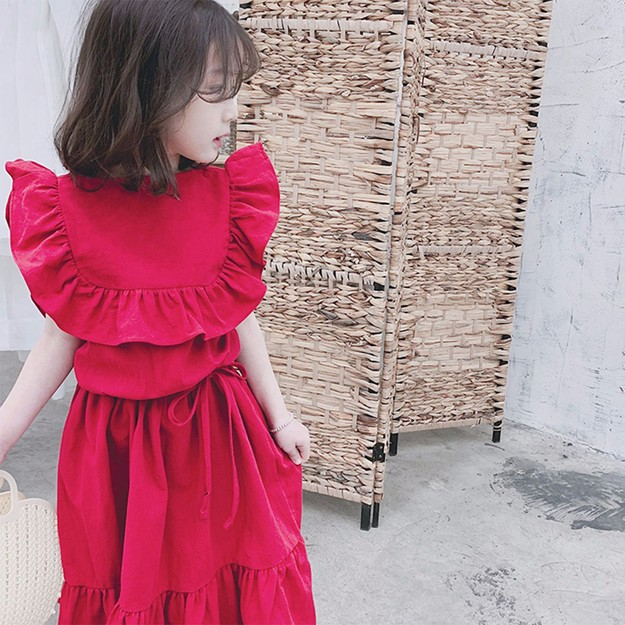 Product Detail - MODELAMI Kid Girl Ruffle Overlay Dress #Red 120(5-6years) - image 0