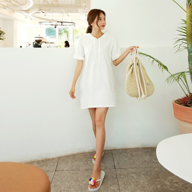 SSUMPARTY Hoodie Dress #White One Size(S-M)