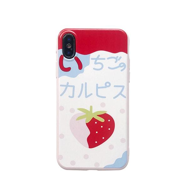 商品详情 - [中国直邮] 乐学办公LEARN&WORK 日系可爱卡通 光面硅胶苹果手机壳 情侣款 草莓 适用于iPhoneX - image  0