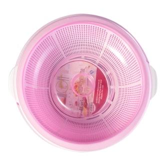 和兴 圆形塑料蔬果保洁篮子 双层含盖子 28cm 单组入