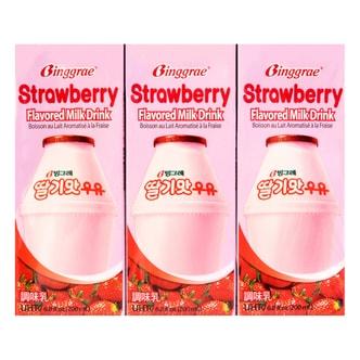 韩国BINGGRAE宾格瑞 草莓牛奶 6盒装