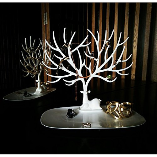 PuTwo Jewelry HolderOrganizer Jewelry Stand Display Tree White Deer