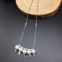 ARIEL Sterling Silver Teeth and Pearls Necklace
