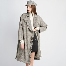 CARRIE&KATE 【Designer Style】Grey lattice lotus leaf edge medium and long coats Grey lattice/M