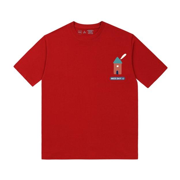 商品详情 - PROD幼儿园小房子宽松短袖T恤纯棉半袖初秋上衣红色M号 - image  0