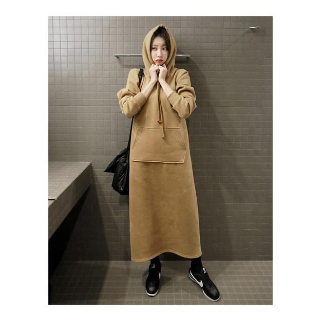 Product Detail - KOREA [Free Shipping] MAGZERO Hoodie Sweatshirt Long Dress(Fleece Lining) Beige One Size(Free) - image 0
