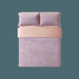 网易严选 暖洋洋的被窝柔暖立体条纹绒四件套 适用2mx2.3m被芯 芝兰紫