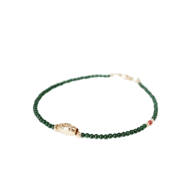 7NOWS Brazilian green sand agate with gold rune bracelet