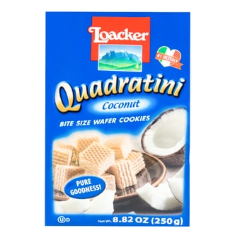 LOACKER Quadratini Bite Size Wafer Cookies Coconut Flavor 250g