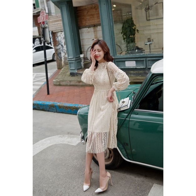 PRINSTORY 2019 Spring/Summer Romantic Lace Dress Cream/M