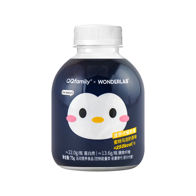 商品详情 - 【一顿少摄入500kcal】WONDERLAB X QQ联名 小胖瓶代餐奶昔 蜜桃乌龙味 75g - image  0