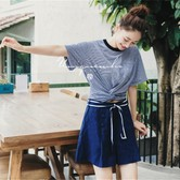 独角定制 深蓝色全麻高腰系带短裤女 S