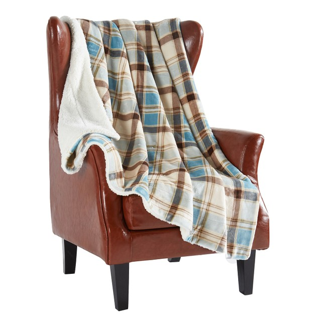 """商品详情 - MERRYLIFE双层毛毯 柔软保暖摇粒绒 浅蓝格子 60\"""" 70\"""" - image  0"""